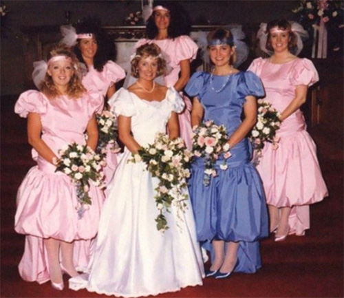 b0e0a8eced Ugly bridesmaid dresses from different times taken on camera