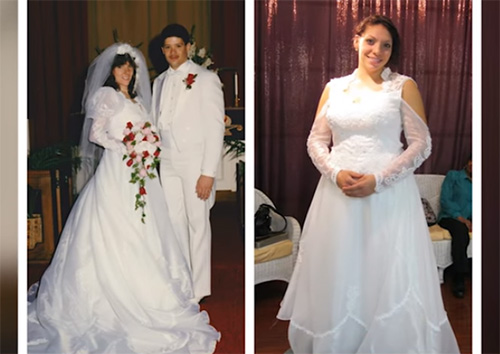 a57d5d480d This woman picked out a stunning gown for her wedding day. It was a white  satin and lace dress with big